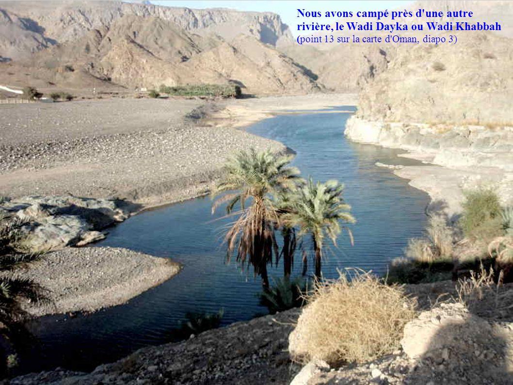 Nous avons campé près d'une autre rivière, le Wadi Dayka ou Wadi Khabbah (point 13 sur la carte d'Oman, diapo 3)