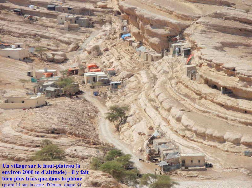 Un village sur le haut-plateau (à environ 2000 m d'altitude) - il y fait bien plus frais que dans la plaine (point 14 sur la carte d'Oman, diapo 3)