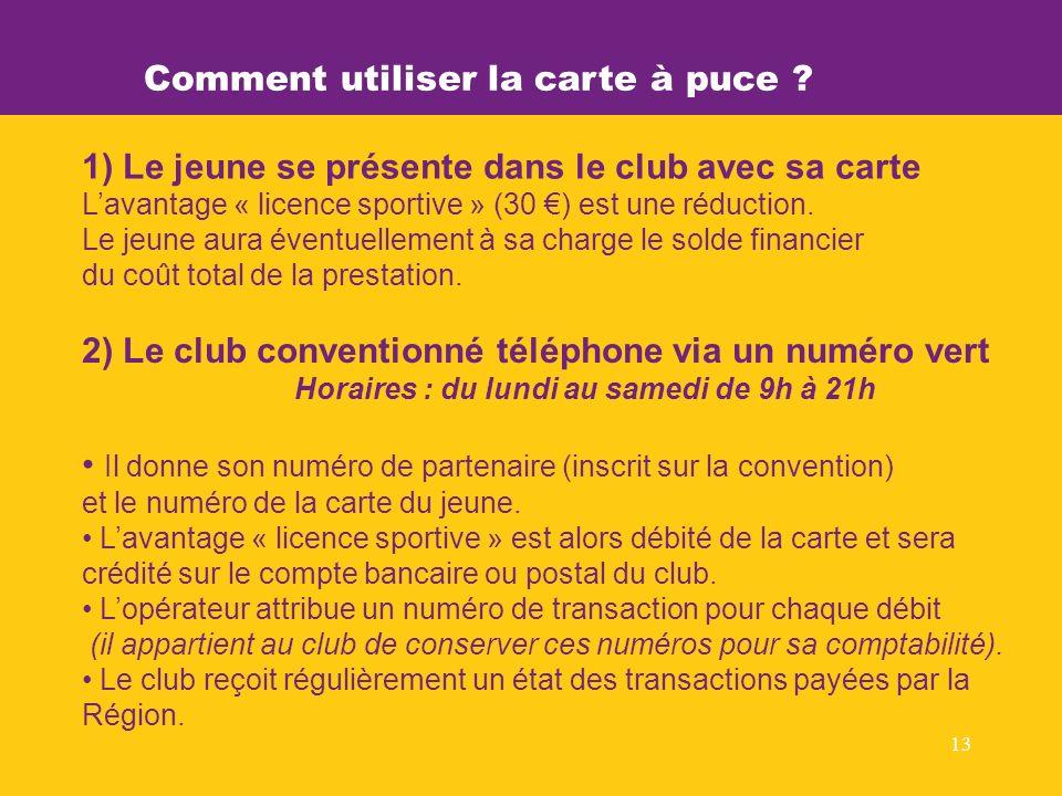 13 1) Le jeune se présente dans le club avec sa carte Lavantage « licence sportive » (30 ) est une réduction.