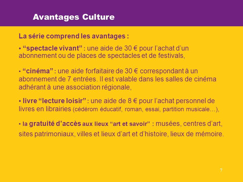 7 Avantages Culture La série comprend les avantages : spectacle vivant : une aide de 30 pour lachat dun abonnement ou de places de spectacles et de festivals, cinéma : une aide forfaitaire de 30 correspondant à un abonnement de 7 entrées.