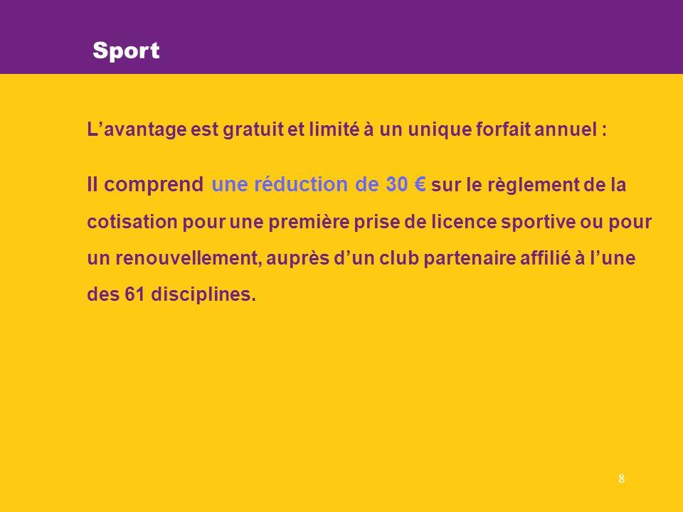 8 Sport Lavantage est gratuit et limité à un unique forfait annuel : Il comprend une réduction de 30 sur le règlement de la cotisation pour une première prise de licence sportive ou pour un renouvellement, auprès dun club partenaire affilié à lune des 61 disciplines.