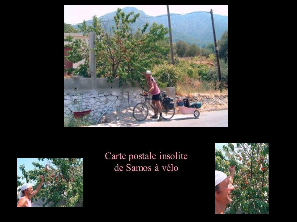 Carte postale insolite de Samos à vélo