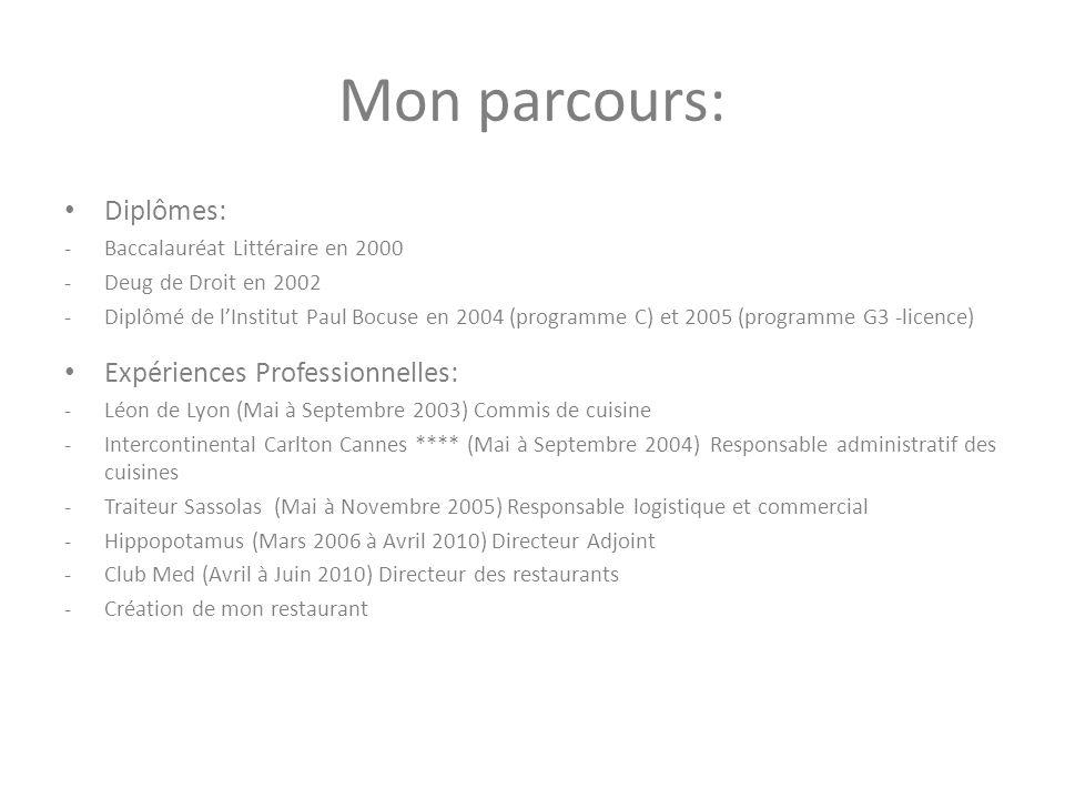 Mon parcours: Diplômes: -Baccalauréat Littéraire en 2000 -Deug de Droit en 2002 -Diplômé de lInstitut Paul Bocuse en 2004 (programme C) et 2005 (progr