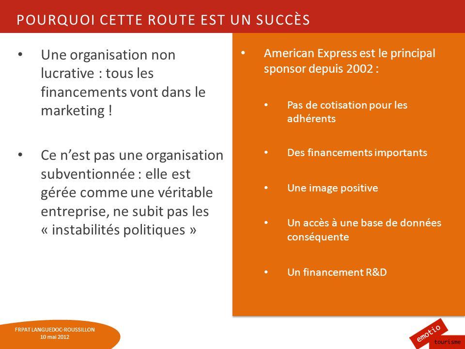 FRPAT LANGUEDOC-ROUSSILLON 10 mai 2012 POURQUOI CETTE ROUTE EST UN SUCCÈS Une organisation non lucrative : tous les financements vont dans le marketin