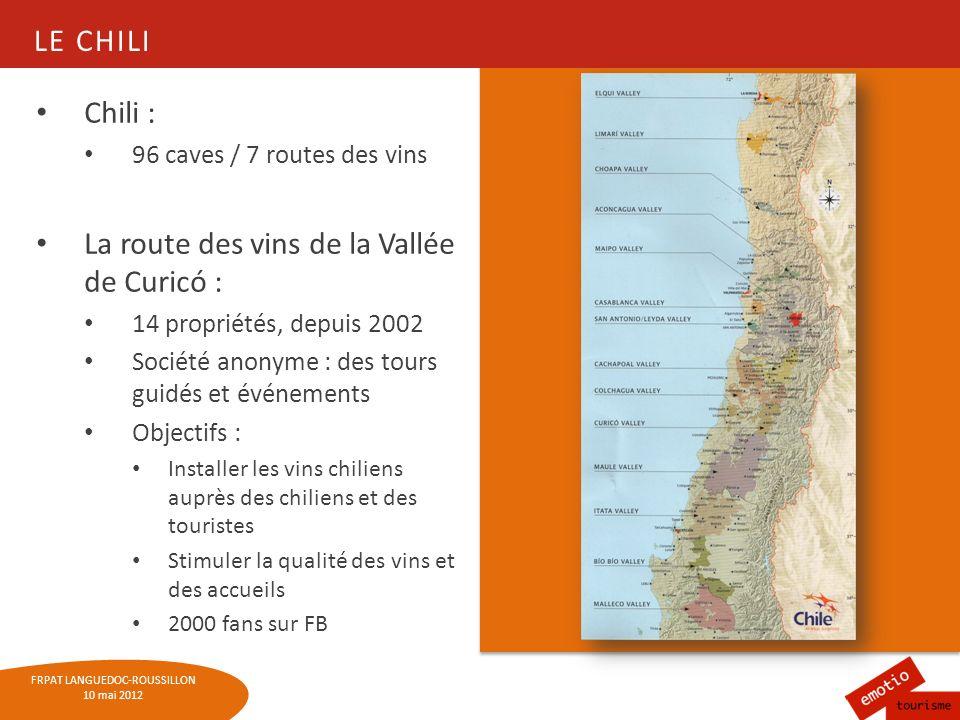 FRPAT LANGUEDOC-ROUSSILLON 10 mai 2012 LA STRADE DEL VINO - COLLIO Une histoire particulière Première route du vin (et des cerises) italienne, née en 1963 Ancienne tradition : les tavernes Forfait « dégustation » à lheure Dans la province de Gorizia, 11 routes des vins (Collio) ont été créées depuis 1999 : + 40 à 60 % de ventes dans les débits de vins et huile, + 20 à 30% de lits occupés dans les chambres dhôtes