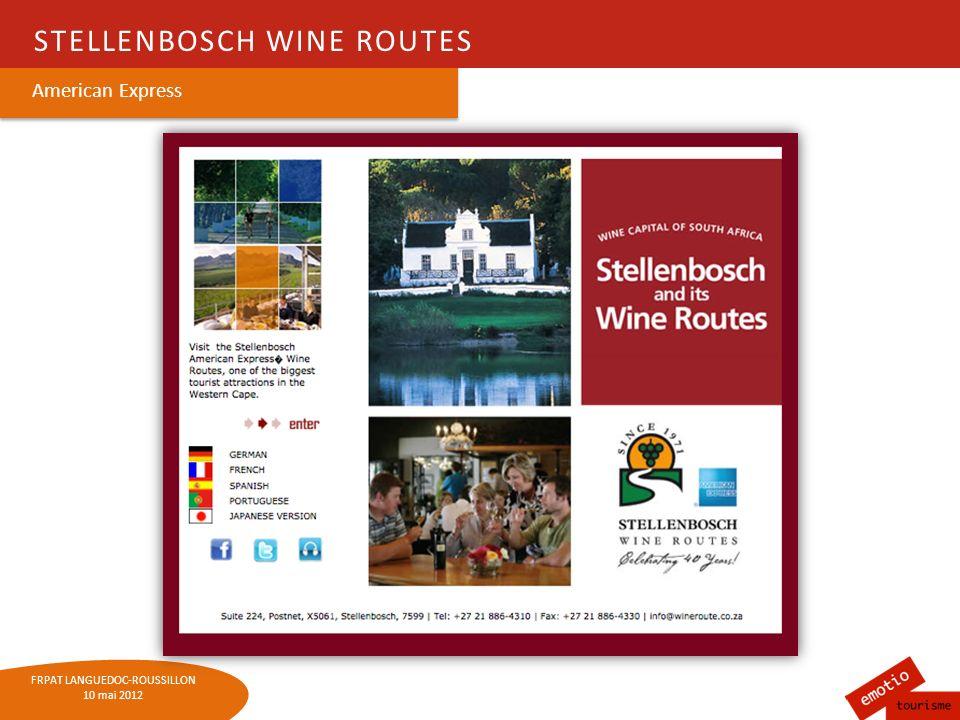 FRPAT LANGUEDOC-ROUSSILLON 10 mai 2012 TÉMOIGNAGE DE ANNARETH BOLTON - RESPONSABLE Lindustrie du vin en Afrique du Sud : 1,5 milliard deuros 348 500 emplois directs et indirects Dont 48 350 dans loenotourisme (!) 390 millions générés par le tourisme dans les vignobles
