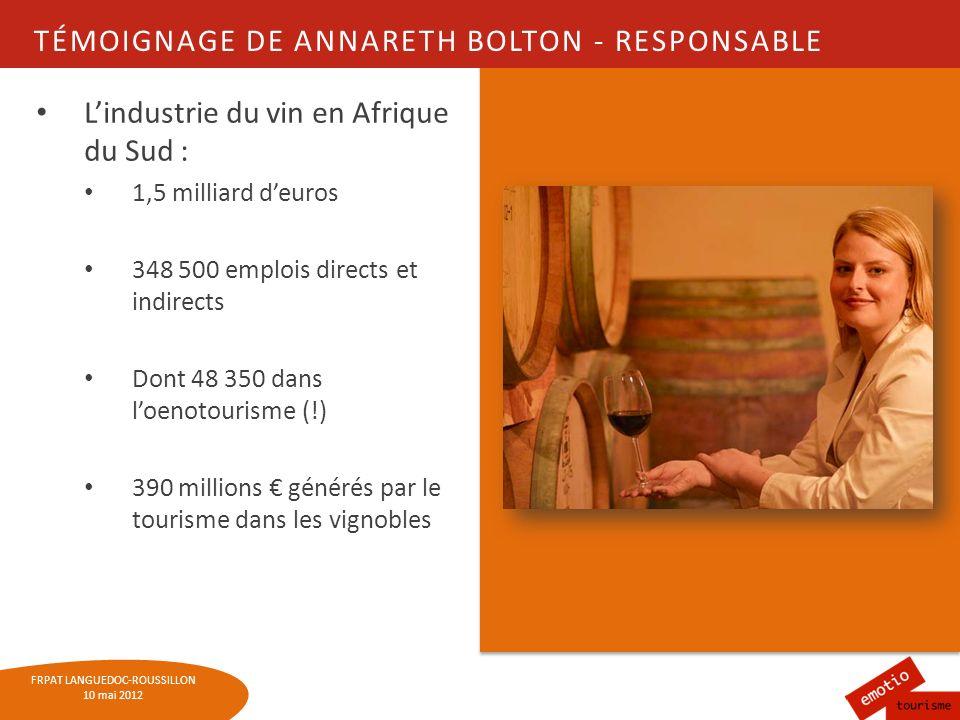 FRPAT LANGUEDOC-ROUSSILLON 10 mai 2012 QUELQUES AUTRES EXEMPLES EUROPÉENS LAutriche : 27 routes réparties sur 22 régions Système de carte + pass à lannée ou 2 semaines 17 routes en Espagne et le Vinobus de Rioja 1 fois /mois Etats-Unis : 6 routes des vins Au total, plus de 250 routes des vins dans le monde !