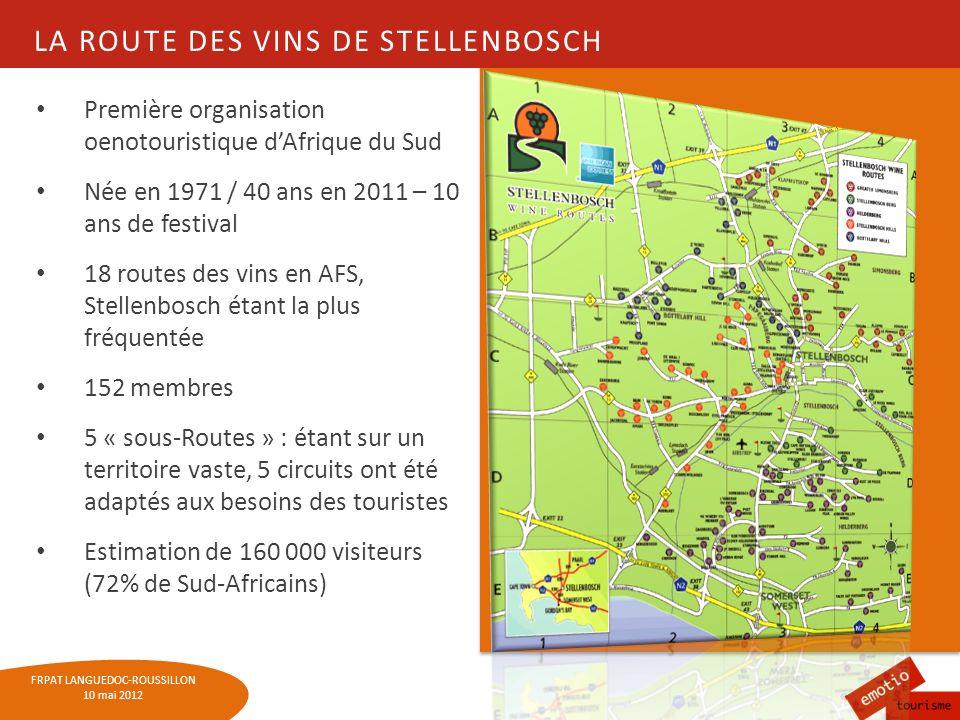 FRPAT LANGUEDOC-ROUSSILLON 10 mai 2012 LA ROUTE DES VINS DE STELLENBOSCH Première organisation oenotouristique dAfrique du Sud Née en 1971 / 40 ans en