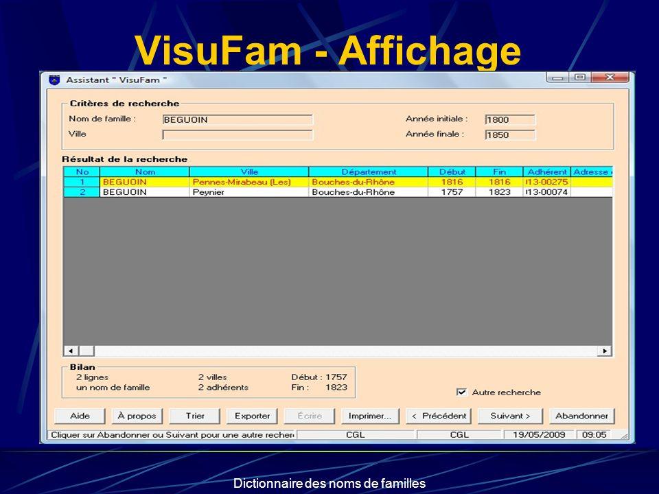 Dictionnaire des noms de familles VisuFam - Affichage