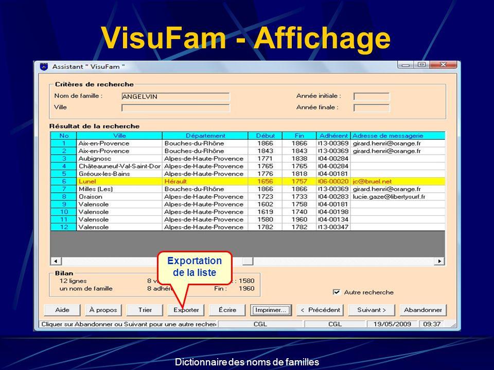 Dictionnaire des noms de familles VisuFam - Affichage Exportation de la liste