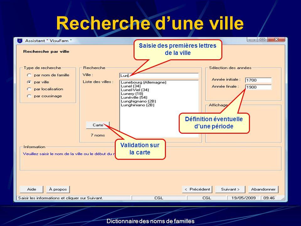 Dictionnaire des noms de familles Recherche dune ville Saisie des premières lettres de la ville Définition éventuelle dune période Validation sur la carte