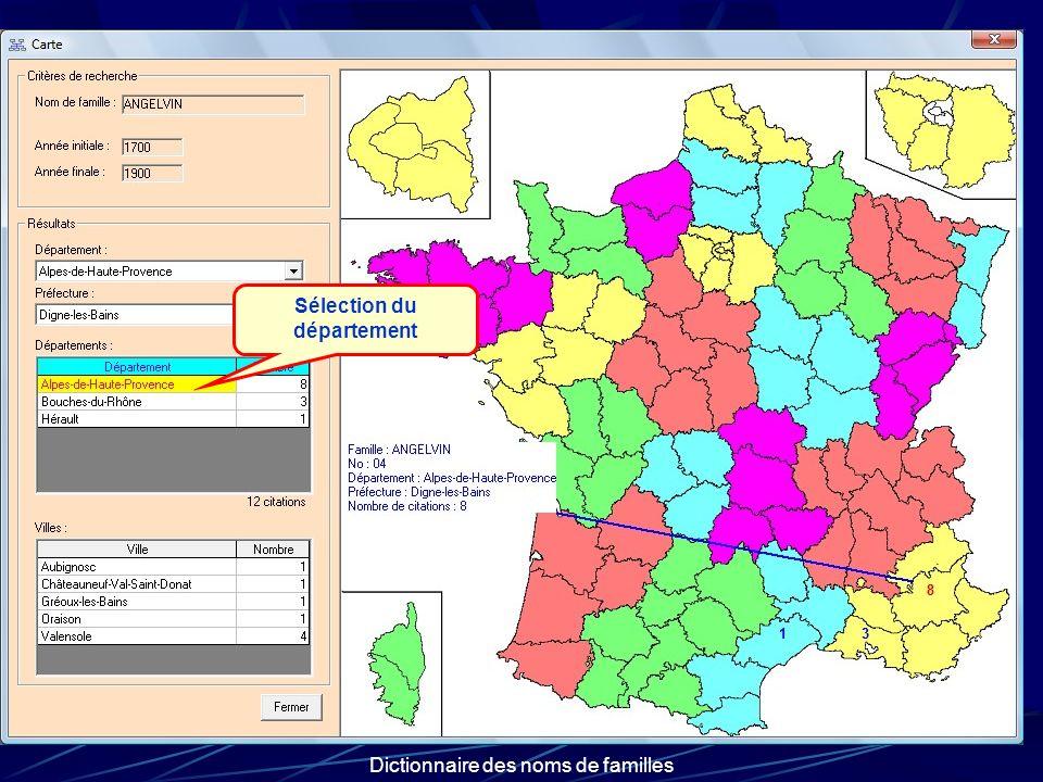 Dictionnaire des noms de familles Sélection du département