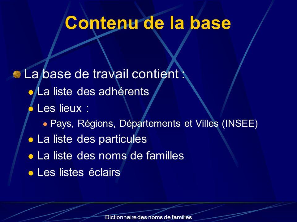 Dictionnaire des noms de familles Contenu de la base La base de travail contient : La liste des adhérents Les lieux : Pays, Régions, Départements et V