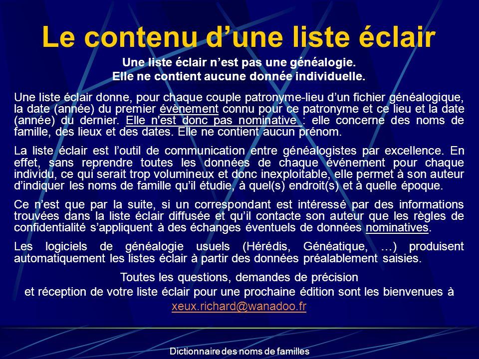 Dictionnaire des noms de familles Le contenu dune liste éclair Une liste éclair nest pas une généalogie. Elle ne contient aucune donnée individuelle.