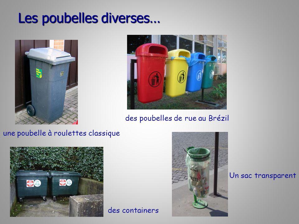 Les poubelles diverses… une poubelle à roulettes classique des poubelles de rue au Brézil des containers Un sac transparent