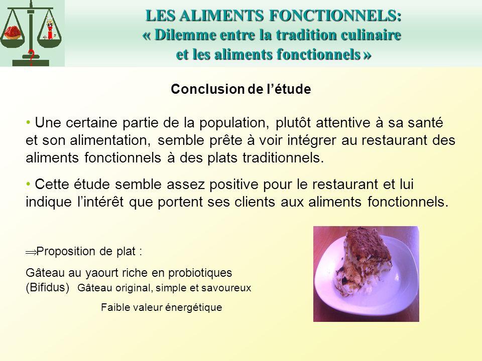 LES ALIMENTS FONCTIONNELS: « Dilemme entre la tradition culinaire et les aliments fonctionnels » Conclusion de létude Une certaine partie de la popula