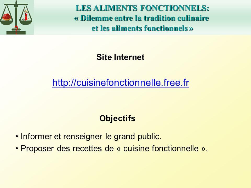 LES ALIMENTS FONCTIONNELS: « Dilemme entre la tradition culinaire et les aliments fonctionnels » Site Internet http://cuisinefonctionnelle.free.fr Obj
