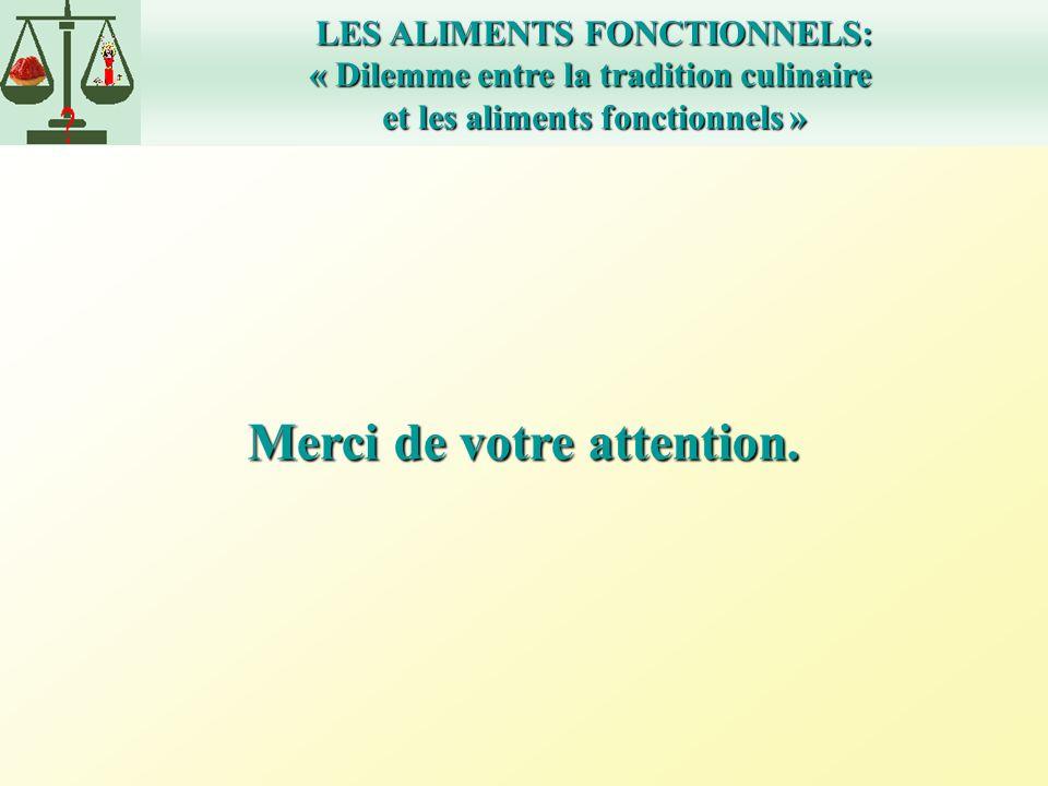 LES ALIMENTS FONCTIONNELS: « Dilemme entre la tradition culinaire et les aliments fonctionnels » Merci de votre attention.