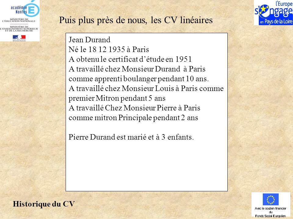 Jean Durand Né le 18 12 1935 à Paris A obtenu le certificat détude en 1951 A travaillé chez Monsieur Durand à Paris comme apprenti boulanger pendant 10 ans.