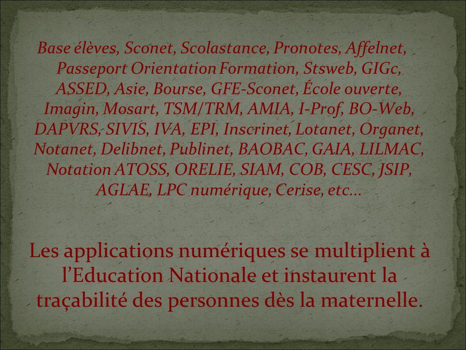 Les applications numériques se multiplient à lEducation Nationale et instaurent la traçabilité des personnes dès la maternelle.
