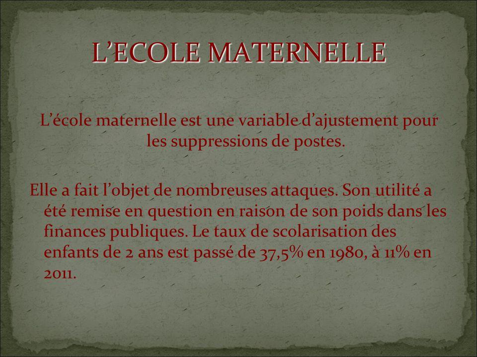 LECOLE MATERNELLE Lécole maternelle est une variable dajustement pour les suppressions de postes.