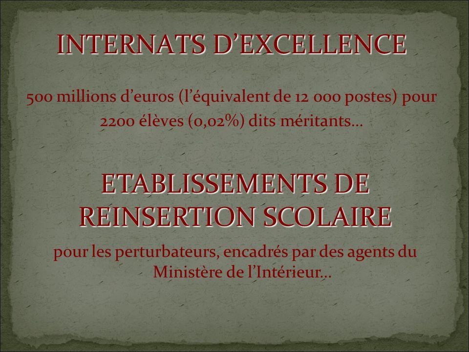 INTERNATS DEXCELLENCE 500 millions deuros (léquivalent de 12 000 postes) pour 2200 élèves (0,02%) dits méritants… ETABLISSEMENTS DE REINSERTION SCOLAIRE pour les perturbateurs, encadrés par des agents du Ministère de lIntérieur…