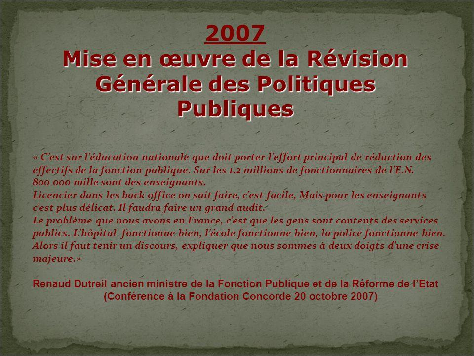 2007 Mise en œuvre de la Révision Générale des Politiques Publiques « Cest sur léducation nationale que doit porter leffort principal de réduction des effectifs de la fonction publique.