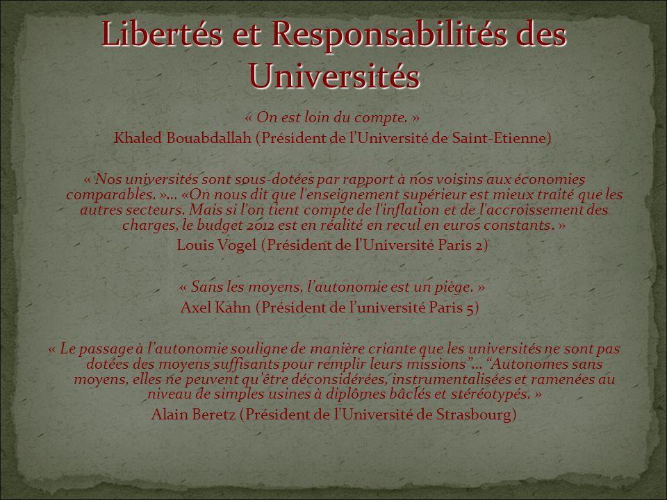 Libertés et Responsabilités des Universités « On est loin du compte.