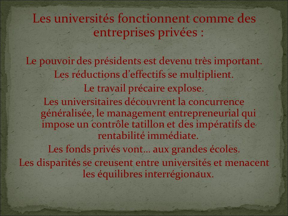 Les universités fonctionnent comme des entreprises privées : Le pouvoir des présidents est devenu très important.