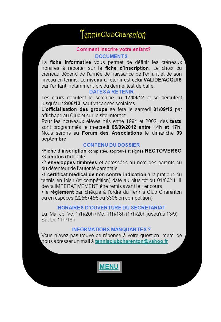 ADOCADOC, logiciel gratuit, proposé par la FFT et utilisé par le TC Charenton vous permet de : -Rechercher un partenaire de jeu parmi les adhérents du club (et seulement les adhérents du Club) -Gérer votre fiche personnelle -Réserver un court -Communiquer avec le club -Se connecter à votre espace licencié sans passer par le site de la FFT LIDENTIFICATION Identifiants et mot de passe sont identiques à ceux de lespace du licencié de la FFT.
