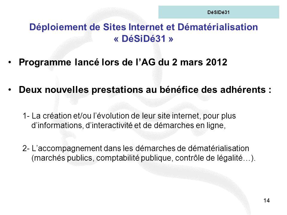 14 Déploiement de Sites Internet et Dématérialisation « DéSiDé31 » Programme lancé lors de lAG du 2 mars 2012 Deux nouvelles prestations au bénéfice d