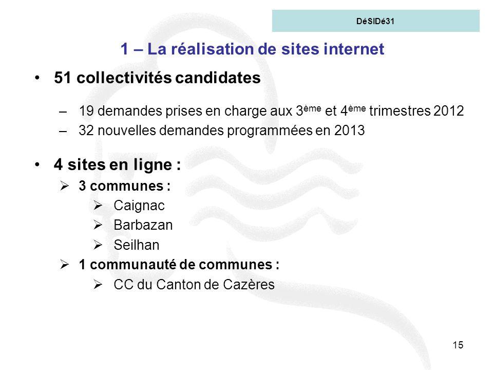 15 1 – La réalisation de sites internet 51 collectivités candidates –19 demandes prises en charge aux 3 ème et 4 ème trimestres 2012 –32 nouvelles dem