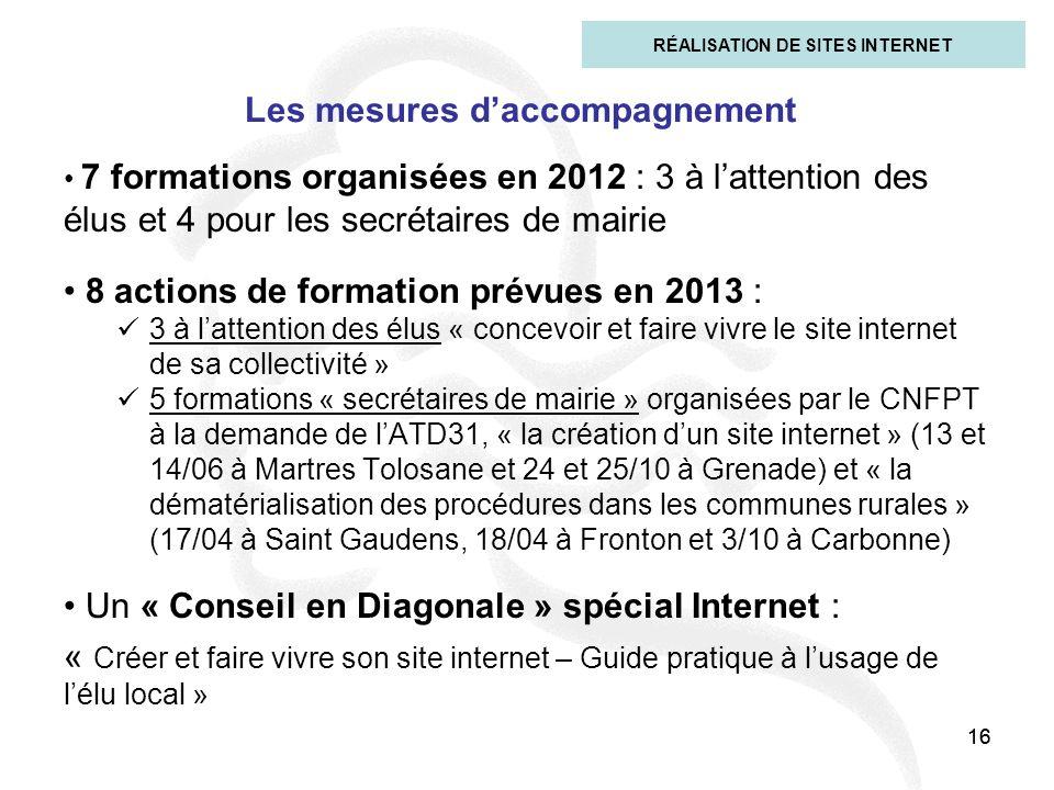 16 Les mesures daccompagnement 7 formations organisées en 2012 : 3 à lattention des élus et 4 pour les secrétaires de mairie 8 actions de formation pr