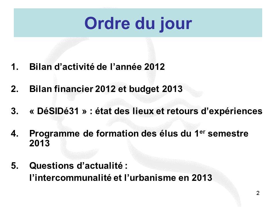 22 Ordre du jour 1.Bilan dactivité de lannée 2012 2.Bilan financier 2012 et budget 2013 3.« DéSIDé31 » : état des lieux et retours dexpériences 4.Prog