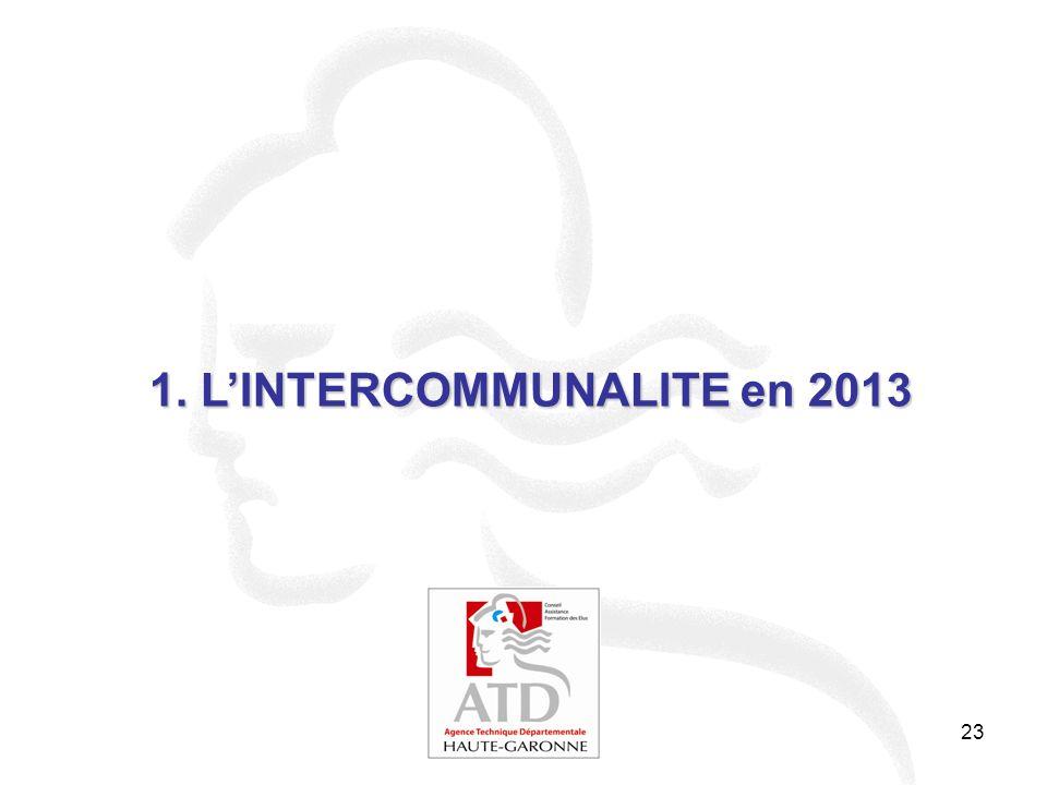 24 1- Etat des lieux de la carte intercommunale LINTERCOMMUNALITE EN 2013 La couverture du département par des EPCI à fiscalité propre Au 1er janvier 2013 : 1 communauté de communes a été créée (10 communes) et le périmètre de 3 communautés de communes existantes a été étendu à 6 communes isolées.