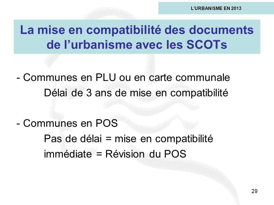 29 La mise en compatibilité des documents de lurbanisme avec les SCOTs - Communes en PLU ou en carte communale Délai de 3 ans de mise en compatibilité