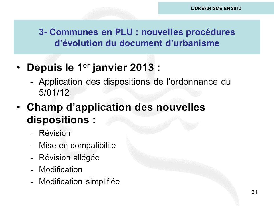 Depuis le 1 er janvier 2013 : -Application des dispositions de lordonnance du 5/01/12 Champ dapplication des nouvelles dispositions : -Révision -Mise