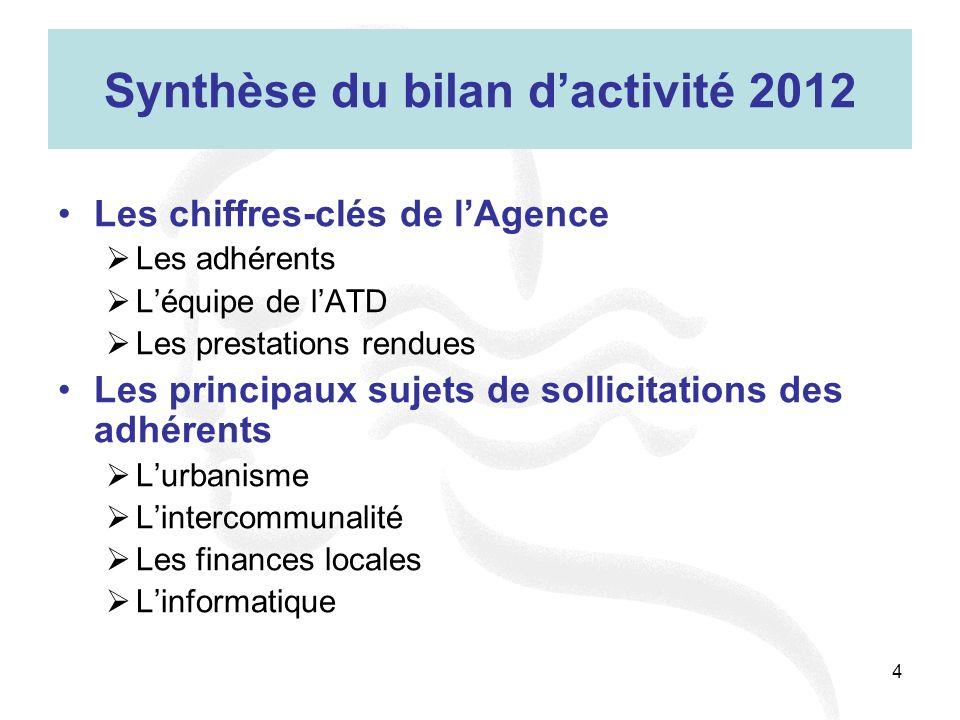 4 Synthèse du bilan dactivité 2012 Les chiffres-clés de lAgence Les adhérents Léquipe de lATD Les prestations rendues Les principaux sujets de sollici