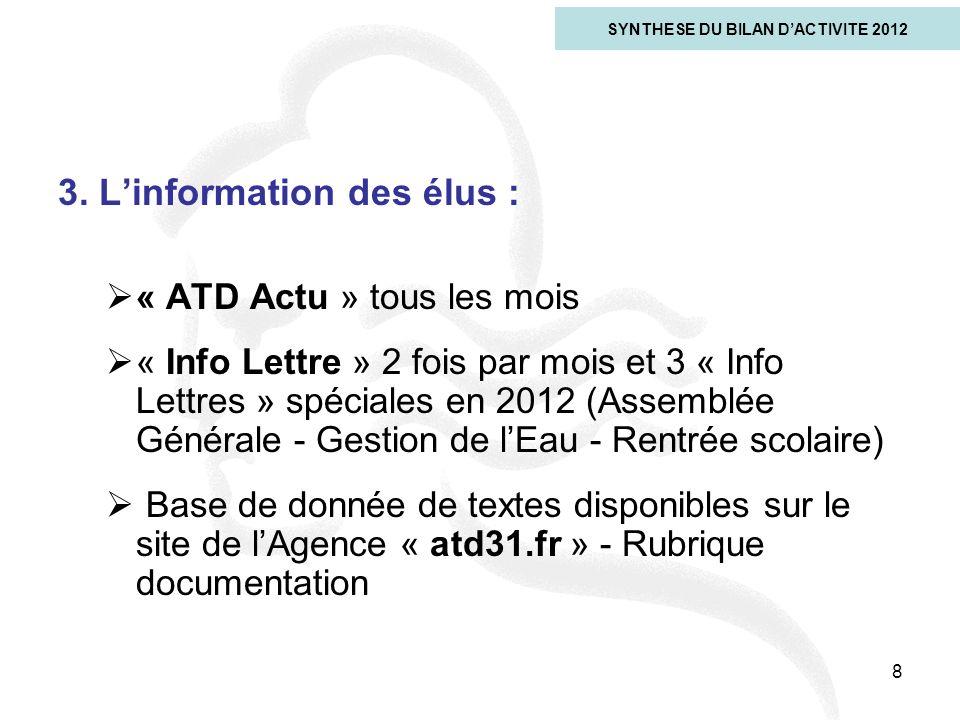 3. Linformation des élus : « ATD Actu » tous les mois « Info Lettre » 2 fois par mois et 3 « Info Lettres » spéciales en 2012 (Assemblée Générale - Ge