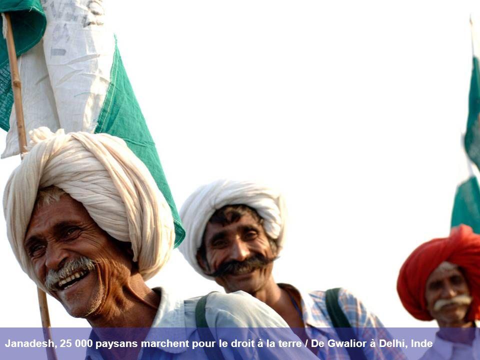 Janadesh, 25 000 paysans marchent pour le droit à la terre / De Gwalior à Delhi, Inde