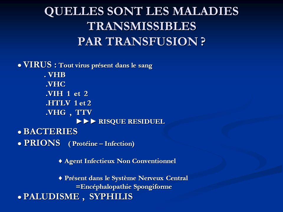 QUELLES SONT LES MALADIES TRANSMISSIBLES PAR TRANSFUSION ? VIRUS : Tout virus présent dans le sang VIRUS : Tout virus présent dans le sang. VHB. VHB.V