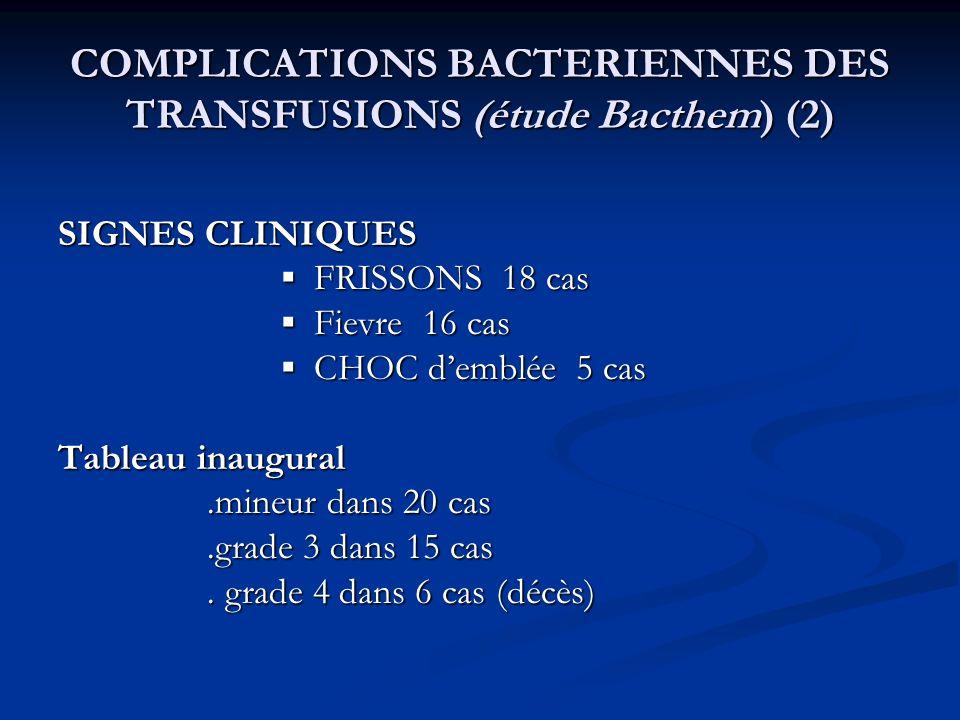 COMPLICATIONS BACTERIENNES DES TRANSFUSIONS (étude Bacthem) (2) SIGNES CLINIQUES FRISSONS 18 cas FRISSONS 18 cas Fievre 16 cas Fievre 16 cas CHOC demb