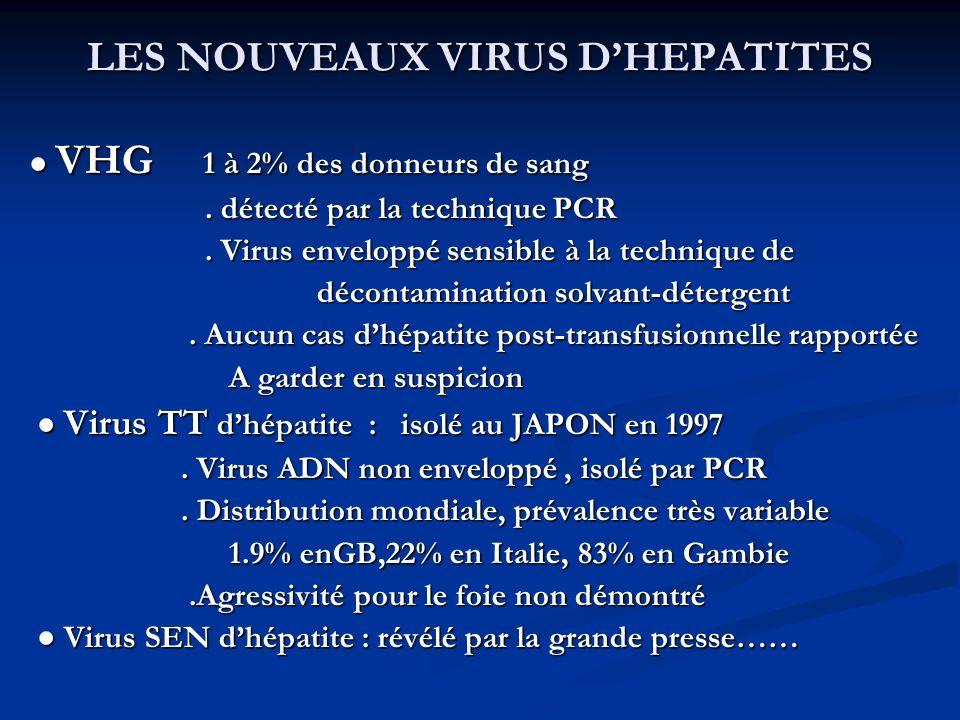 LES NOUVEAUX VIRUS DHEPATITES VHG 1 à 2% des donneurs de sang VHG 1 à 2% des donneurs de sang. détecté par la technique PCR. détecté par la technique