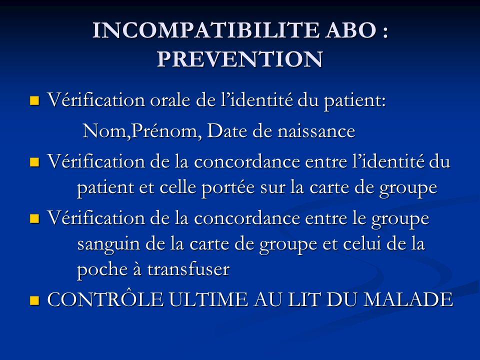 INCOMPATIBILITE ABO : PREVENTION Vérification orale de lidentité du patient: Vérification orale de lidentité du patient: Nom,Prénom, Date de naissance