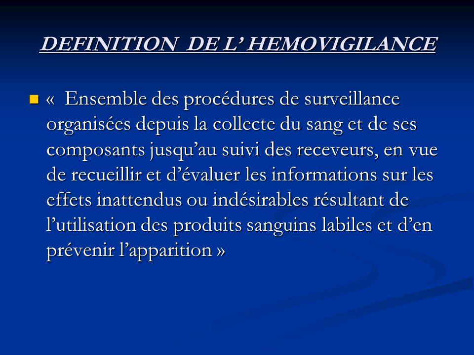 DEFINITION DE L HEMOVIGILANCE « Ensemble des procédures de surveillance organisées depuis la collecte du sang et de ses composants jusquau suivi des r