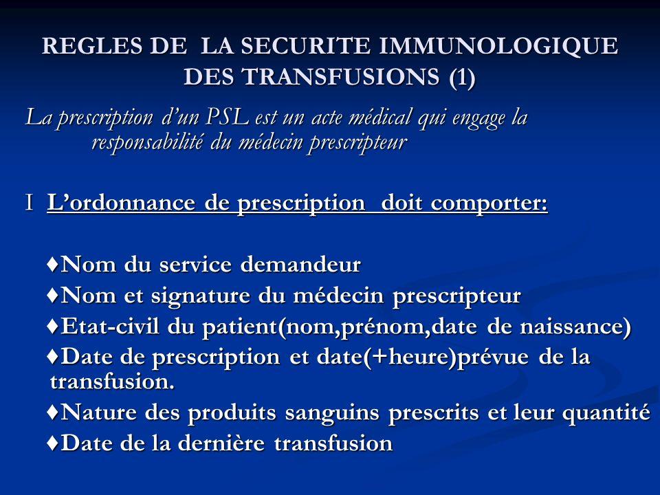 REGLES DE LA SECURITE IMMUNOLOGIQUE DES TRANSFUSIONS (1) La prescription dun PSL est un acte médical qui engage la responsabilité du médecin prescript