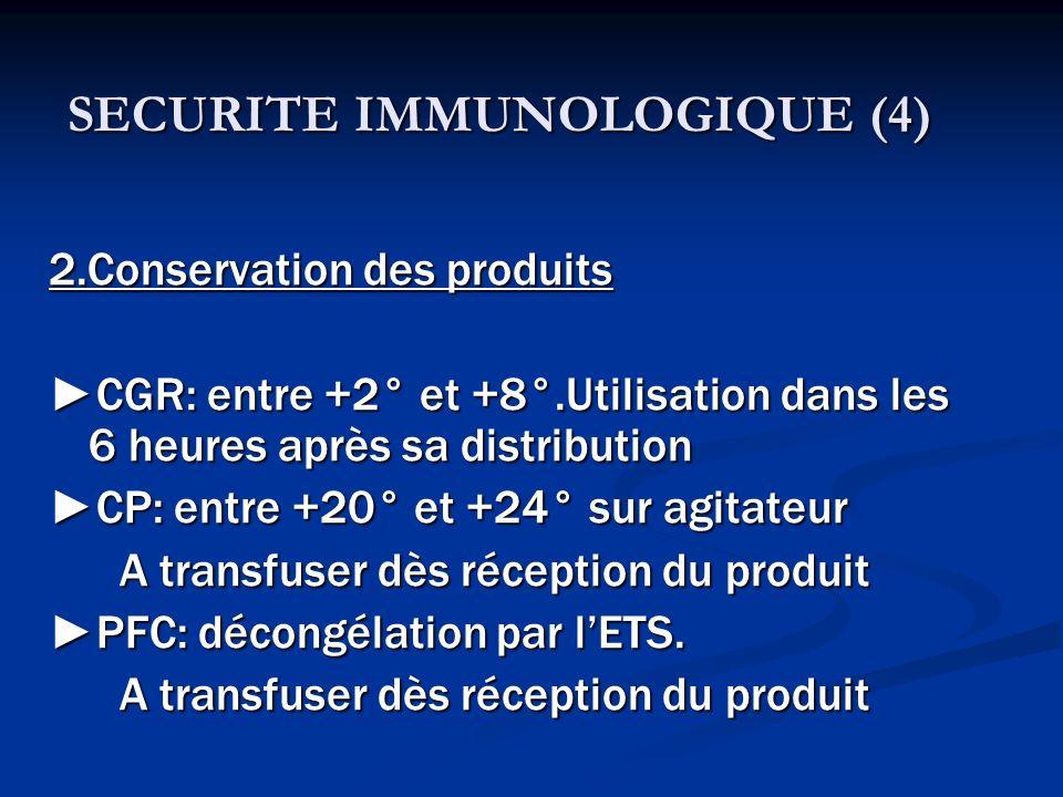 SECURITE IMMUNOLOGIQUE (4) 2.Conservation des produits CGR: entre +2° et +8°.Utilisation dans les 6 heures après sa distribution CP: entre +20° et +24