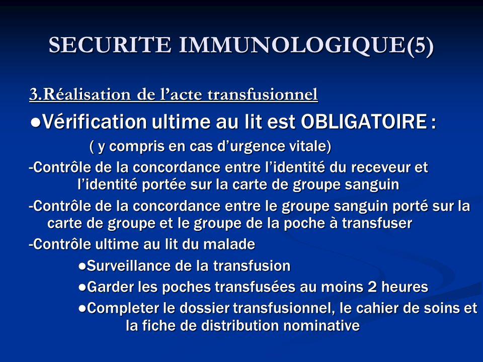 SECURITE IMMUNOLOGIQUE(5) 3.Réalisation de lacte transfusionnel Vérification ultime au lit est OBLIGATOIRE : ( y compris en cas durgence vitale) ( y c