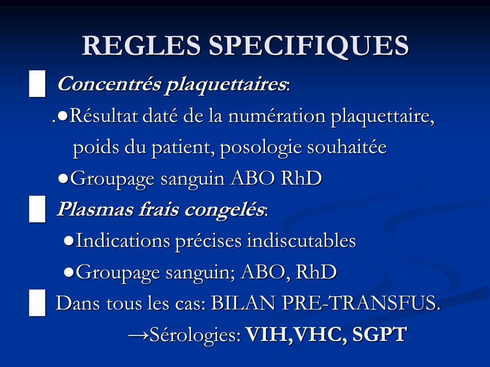 REGLES SPECIFIQUES Concentrés plaquettaires: Concentrés plaquettaires:.Résultat daté de la numération plaquettaire,.Résultat daté de la numération pla