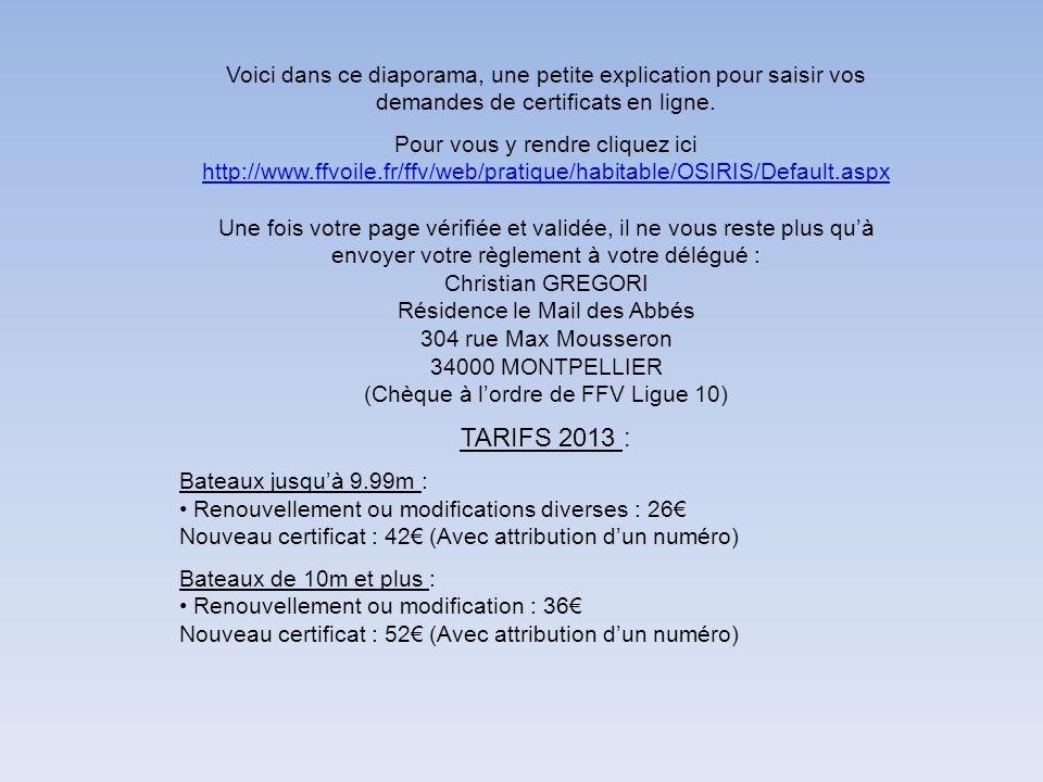 Voici dans ce diaporama, une petite explication pour saisir vos demandes de certificats en ligne. Pour vous y rendre cliquez ici http://www.ffvoile.fr